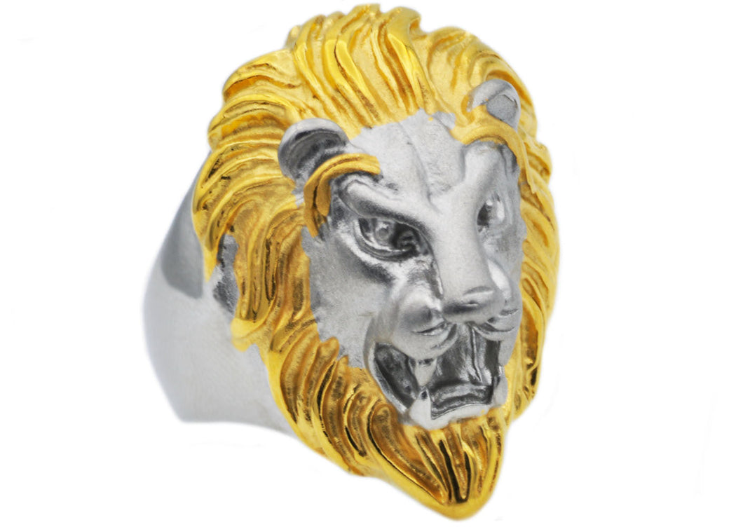 Mens Gold Stainless Steel Lion Ring - Blackjack Jewelry