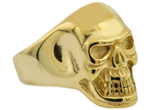 Mens Gold Plated Stainless Steel Skull Ring - Blackjack Jewelry