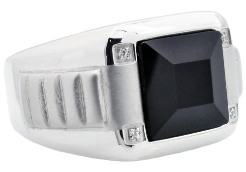 Mens Genuine Onyx And Stainless Steel RIng With Cubic Zirconia - Blackjack Jewelry