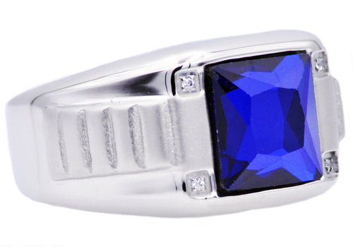 Mens Genuine Blue Spinel And Stainless Steel Ring With Cubic Zirconia - Blackjack Jewelry