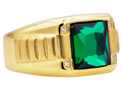 Mens Genuine Green Spinel And Gold Plated Stainless Steel Ring With Cubic Zirconia