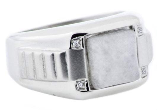Mens Moonstone And Stainless Steel Ring With Cubic Zirconia