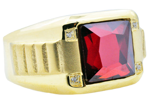 Mens Genuine Red Spinel And Gold Stainless Steel Ring With Cubic Zirconia - Blackjack Jewelry
