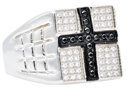 Mens Stainless Steel Cross Ring With White And Black Cubic Zirconia