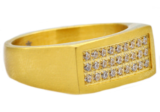 Mens Gold Plated Stainless Steel Ring With Cubic Zirconia