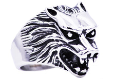 Load image into Gallery viewer, Mens Stainless Steel Wolf Ring - Blackjack Jewelry