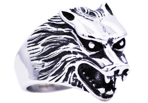 Mens Stainless Steel Wolf Ring - Blackjack Jewelry
