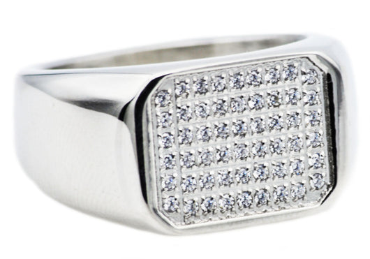 Mens Stainless Steel Ring With Cubic Zirconia