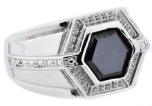 Load image into Gallery viewer, Mens Onyx And Stainless Steel Ring With Cubic Zirconia - Blackjack Jewelry