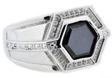 Mens Onyx And Stainless Steel Ring With Cubic Zirconia - Blackjack Jewelry
