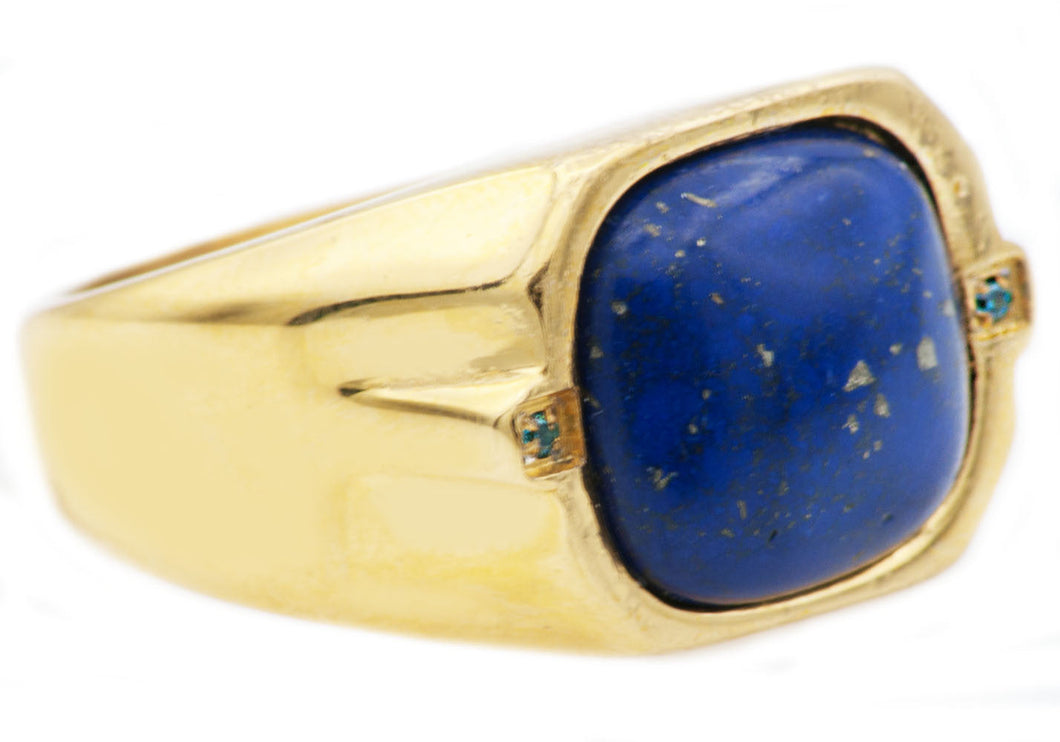 Mens Genuine Lapis Lazuli 18k Gold Plated Stainless Steel Ring With Blue Cubic Zirconia - Blackjack Jewelry