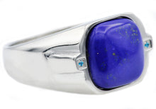 Load image into Gallery viewer, Mens Genuine Lapis Lazuli Stainless Steel Ring With Blue Cubic Zirconia - Blackjack Jewelry