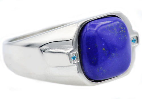 Mens Genuine Lapis Lazuli Stainless Steel Ring With Blue Cubic Zirconia - Blackjack Jewelry