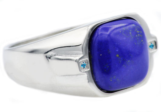 Mens Lapis Lazuli And Stainless Steel Ring With Blue Cubic Zirconia