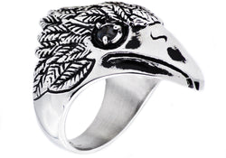 Mens Stainless Steel Eagle Ring With Cubic Zirconia