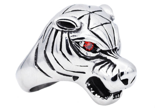 Mens Stainless Steel Tiger Ring With Red Cubic Zirconia - Blackjack Jewelry