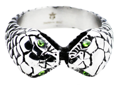 Mens Stainless Steel Snake Ring With Green Cubic Zirconia - Blackjack Jewelry