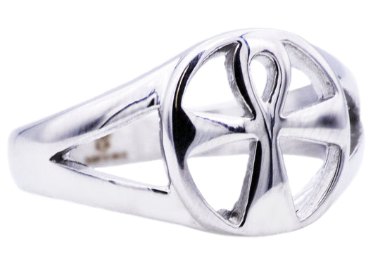 Mens Stainless Steel Ankh Cross Ring