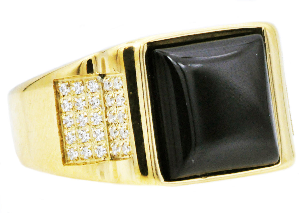 Mens Genuine Onyx And Gold Plated Stainless Steel Ring With Cubic Zirconia - Blackjack Jewelry