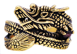 Mens Genuine Tiger Eye Gold Plated Stainless Steel Dragon Ring