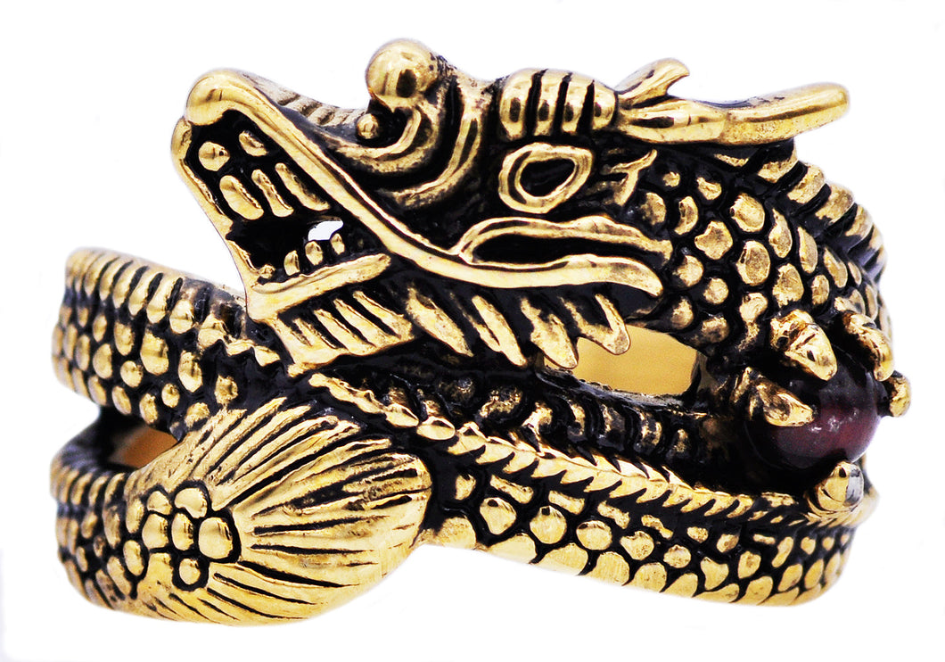 Mens Genuine Tiger Eye Gold Plated Stainless Steel Dragon Ring - Blackjack Jewelry