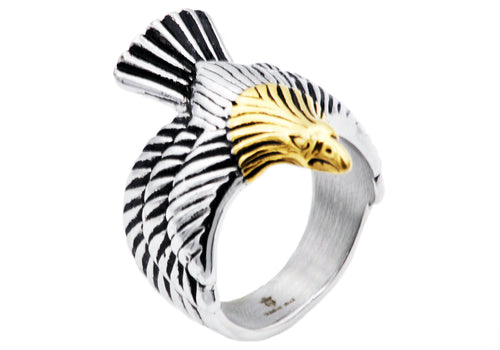 Mens Gold Plated Stainless Steel Eagle Ring - Blackjack Jewelry