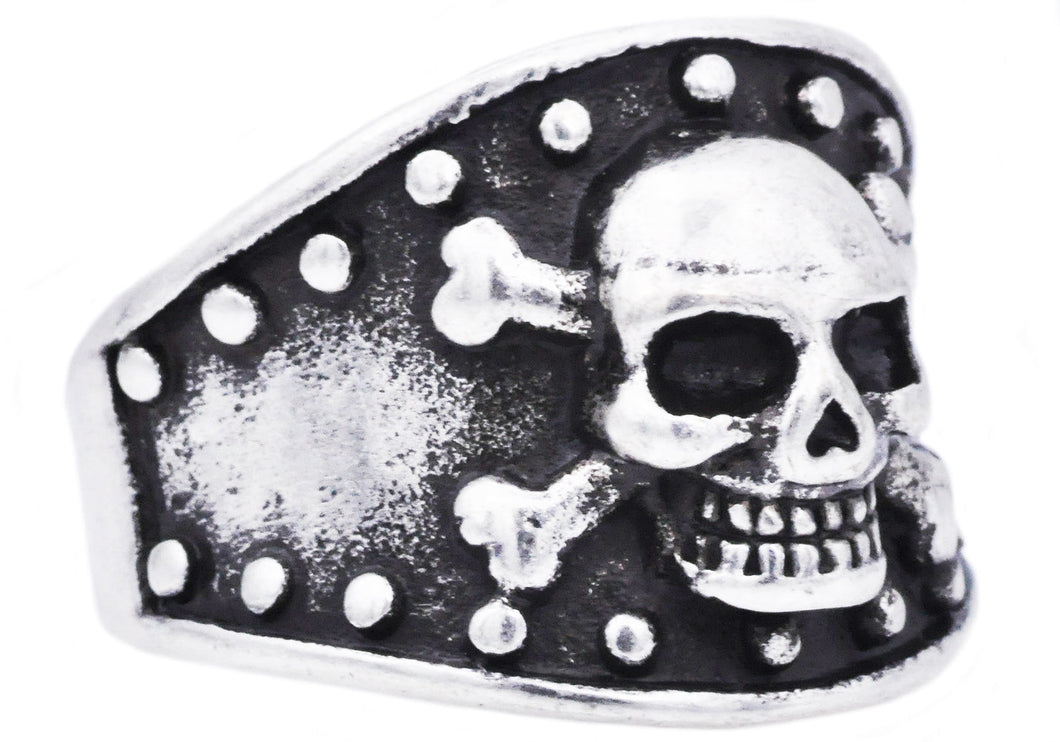 Mens Black Stainless Steel Skull Ring - Blackjack Jewelry