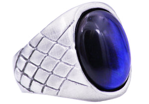 Mens Genuine Blue Tiger Eye Stainless Steel Ring - Blackjack Jewelry