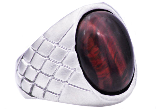 Mens Genuine Red Tiger Eye Stainless Steel Ring - Blackjack Jewelry