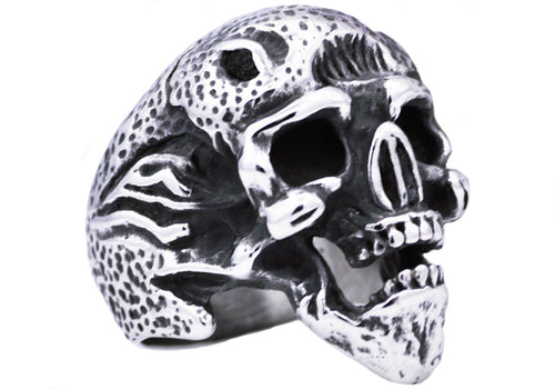 Mens Stainless Steel Skull Ring - Blackjack Jewelry