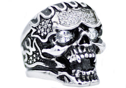 Mens Stainless Steel Skull Ring With Black Cubic Zirconia