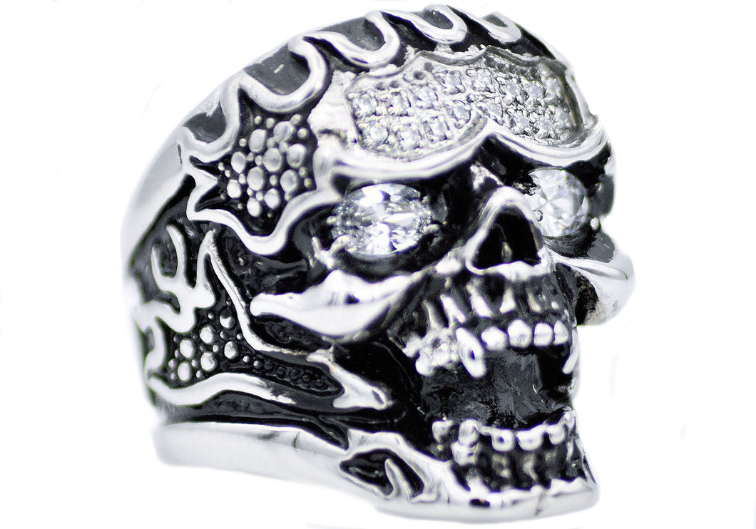 Mens Stainless Steel Skull Ring With Black Cubic Zirconia - Blackjack Jewelry