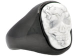 Mens Genuine Howlite Black Plated Stainless Steel Skull Ring