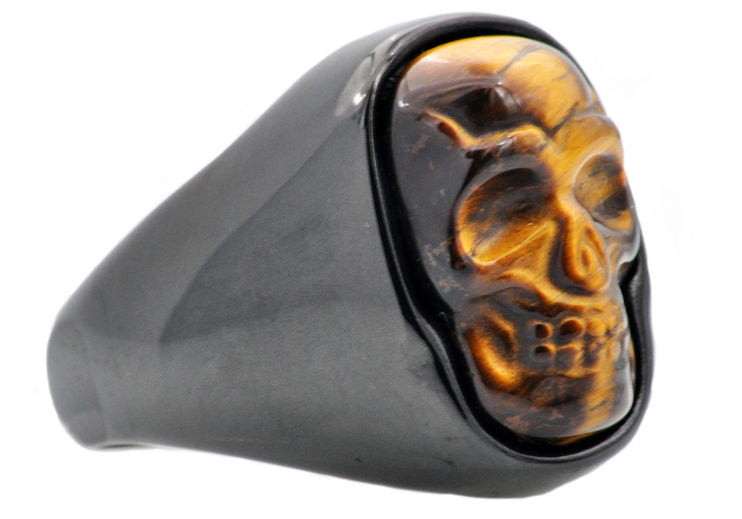 Mens Genuine Tiger Eye Black Plated Stainless Steel Skull Ring - Blackjack Jewelry