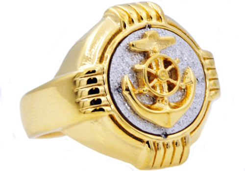 Mens Genuine Gold Plated Stainless Steel Sandblasted Anchor Ring - Blackjack Jewelry