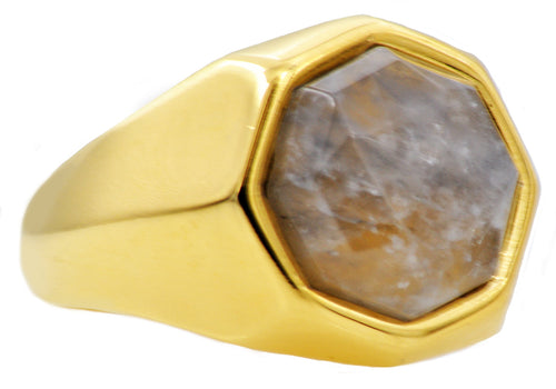 Mens Genuine Moonstone 18k Gold Plated Stainless Steel Ring - Blackjack Jewelry