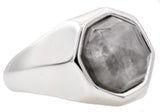 Mens Genuine Moonstone Stainless Steel Ring