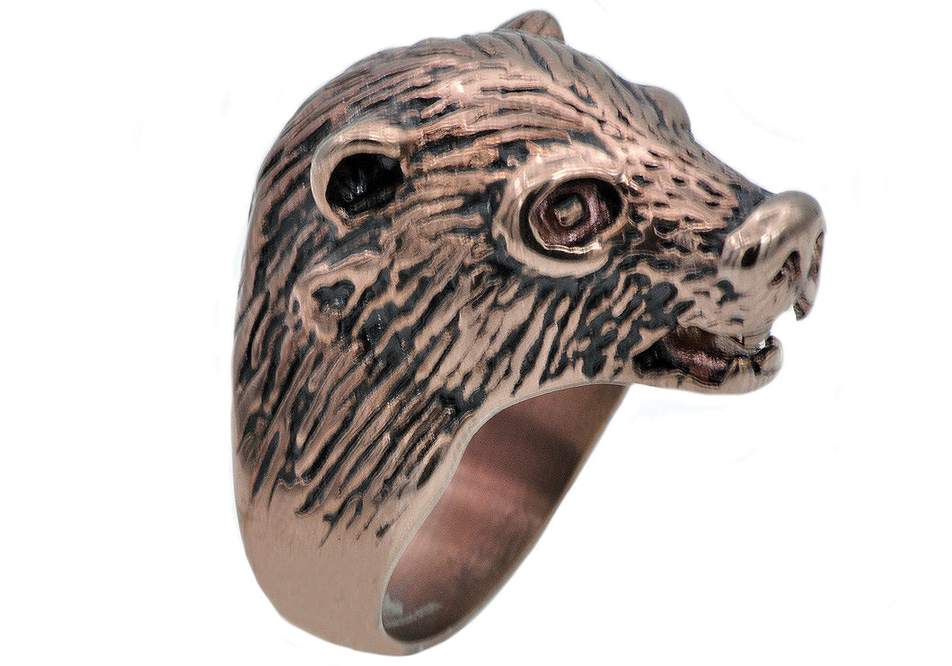 Mens Chocolate Stainless Steel Bear Ring - Blackjack Jewelry