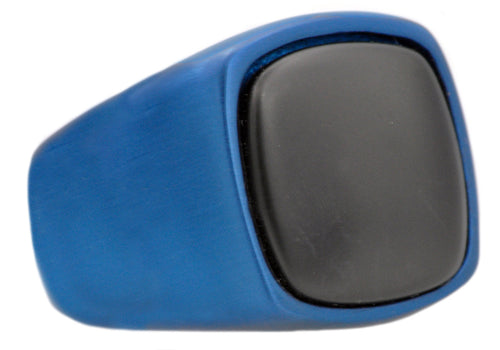 Mens Onyx And Blue Plated Stainless Steel Ring - Blackjack Jewelry