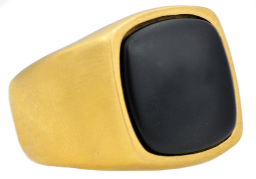 Mens Onyx And Gold Plated Stainless Steel Ring - Blackjack Jewelry