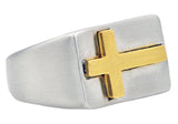 Mens Gold Plated Stainless Steel Cross Ring