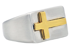 Mens Gold Plated Stainless Steel Cross Ring - Blackjack Jewelry