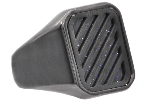 Mens Blue Sandstone Black Stainless Steel Ring - Blackjack Jewelry