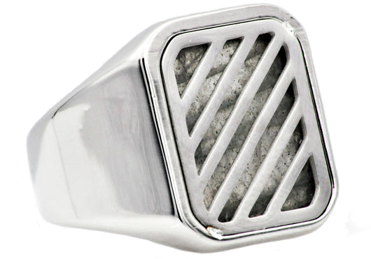 Mens Labradorite Stainless Steel Ring - Blackjack Jewelry