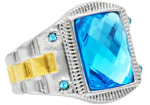 Load image into Gallery viewer, Mens Genuine Blue Swarovski Crystal And Gold Stainless Steel Ring With Blue Cubic Zirconia - Blackjack Jewelry