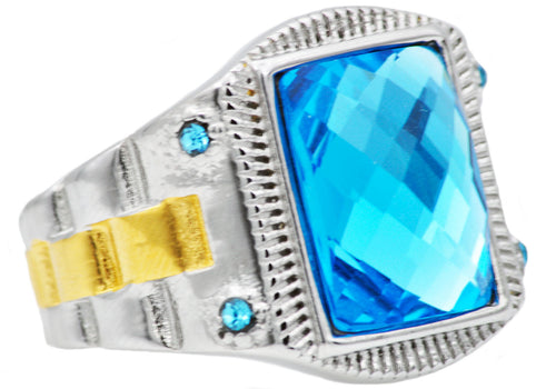 Mens Genuine Blue Swarovski Crystal And 18k Gold Plated Stainless Steel Ring With Blue Cubic Zirconia - Blackjack Jewelry