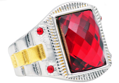 Mens Genuine Red Swarovzki Crystal And Gold Plated Stainless Steel Ring With Red Cubic Zirconia - Blackjack Jewelry