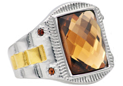 Mens Genuine Champagne Swarovzki Crystal And Gold Plated Stainless Steel Ring With Champagne Cubic Zirconia
