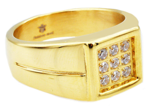 Mens Gold Stainless Steel Ring With Cubic Zirconia - Blackjack Jewelry