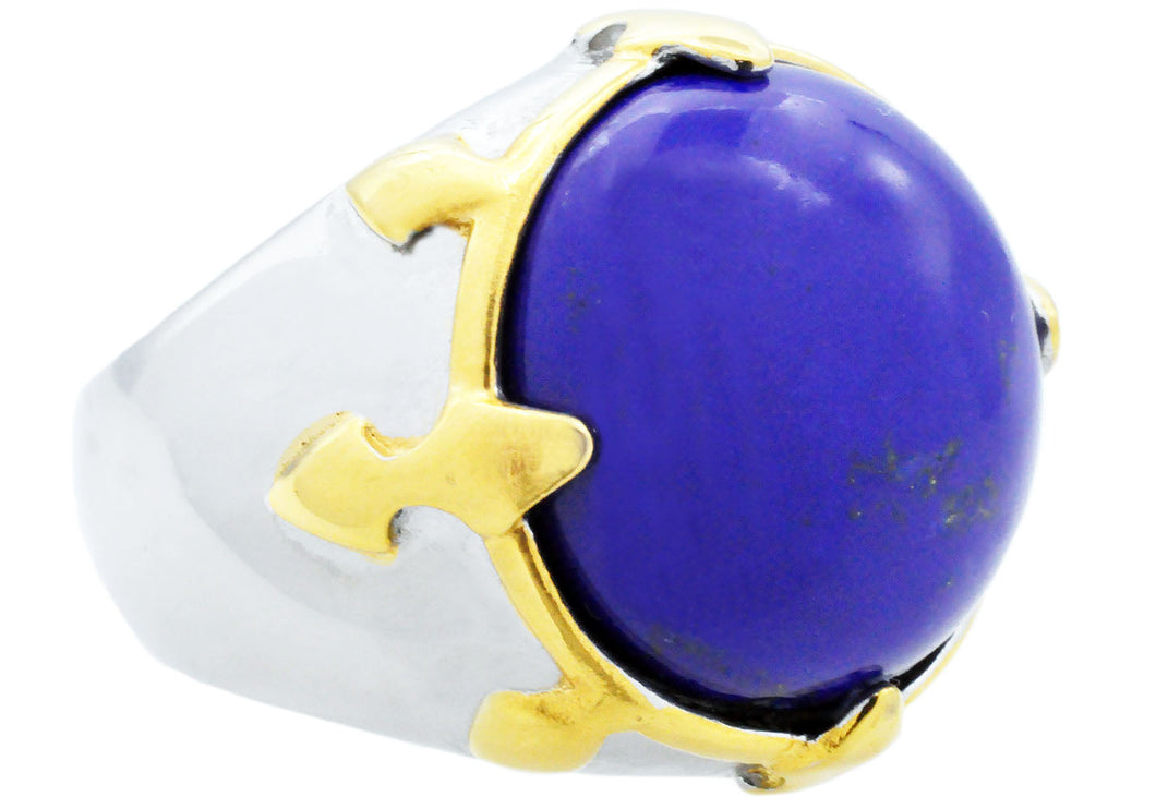 Mens Genuine Lapis Lazuli  And Gold Stainless Steel Ring - Blackjack Jewelry